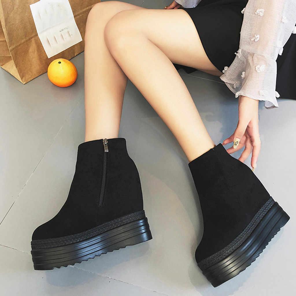 มัฟฟินรองเท้าเพิ่มขึ้น 2019 รองเท้าส้นสูงสีดำรองเท้าสตรีฤดูหนาว warm suede ข้อเท้ารองเท้าผู้หญิงรองเท้ารองเท้า