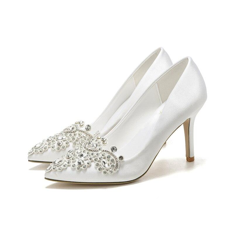 Blanc haut talon pointu Stiletto strass Satin chaussures pour femmes robe Banquet chaussures demoiselle d'honneur chaussures de mariage