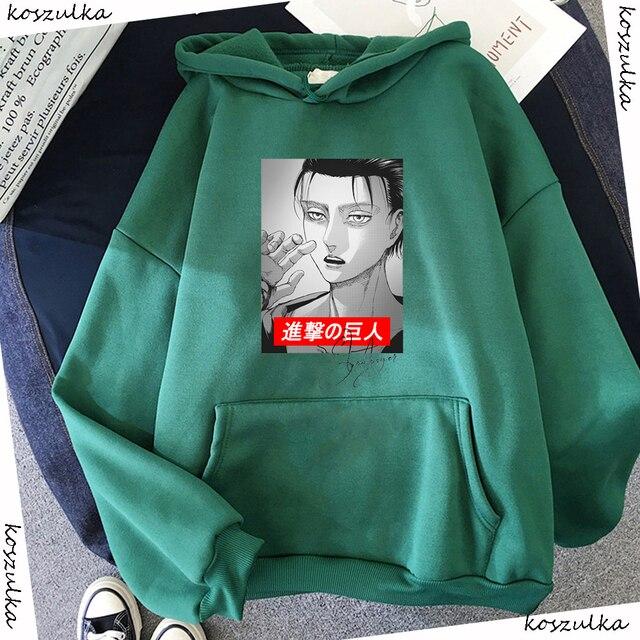 2020 Anime Hoodie Attack on Titan Hoodied Long Sleeve Streetwear Harajuku Sweatshirt Women Unisex Sport Hoody Green Tops G1 3