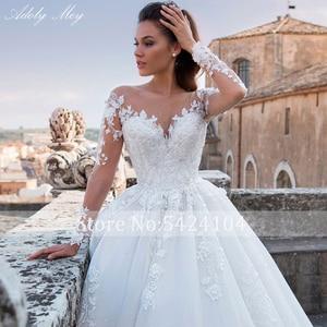 Image 5 - Adoly Mey Luxury Appliques Long Sleeve Beaded A Line Wedding Dress 2020 Romantic Scoop Neck Lace Up Vintage Bride Gown Plus Size