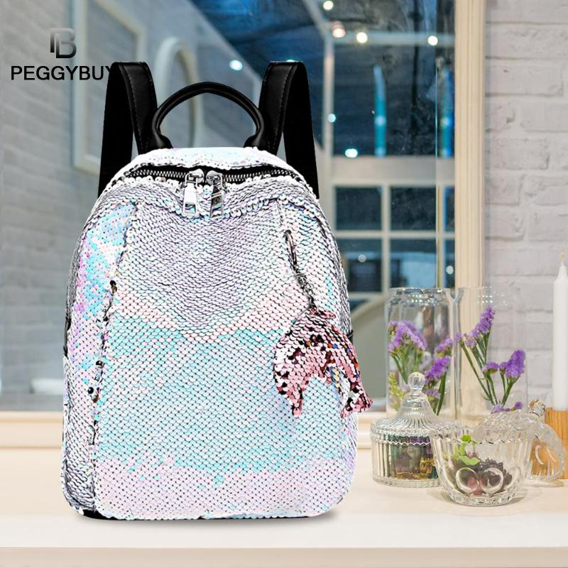 Girls Small Sequin Backpack Glitter Bling Rucksack For School Women Shiny Casual Knapsack  Women Girls Kids School Book Bags