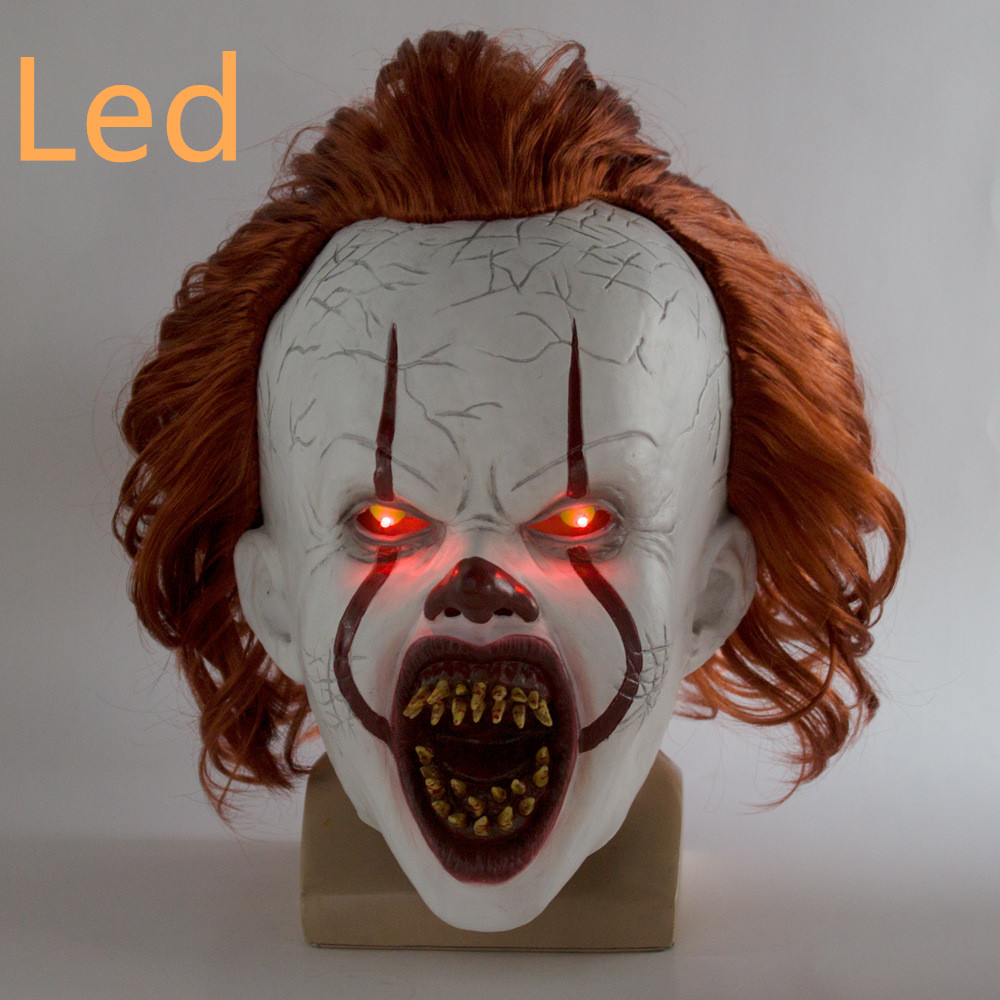 LED <font><b>Horror</b></font> Pennywise Joker Mask Cosplay Stephen King It Chapter Two Clown Latex Masks Helmet Halloween Party Props Deluxe New image