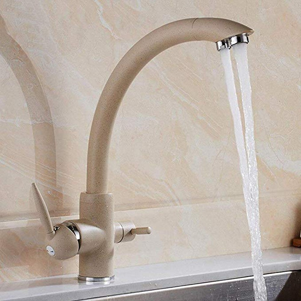 Bathroom Faucet Basin Faucet Mixer Double Handle Gold Brass Modern Sink Faucet Deck Mounted Single Hole Hot and Cold Water Tap