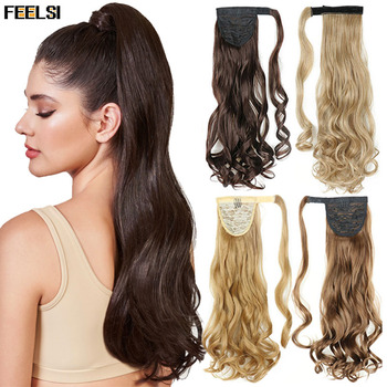 FEELSI False Ponytail Hair Extension Wig Clip Natural Wavy Long Synthetic Wrap Around Pony Tail Blonde Black Brown Hairpiece 45cm long curly sweet lolita ponytail extension hairpiece wig dark brown