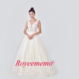 Image 3 - 2020 champage فستان زفاف عاجي مخصص مقاس كبير الزفاف لامعة الدانتيل Mariage العميق الخامس الرقبة مفتوحة الظهر التصميم الأصلي