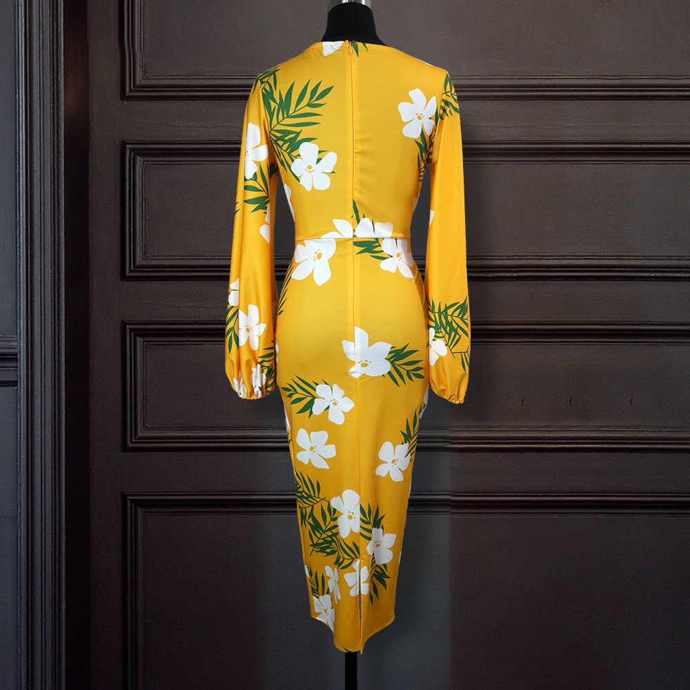 สีเหลืองพิมพ์Vคอดอกไม้สีขาวยาวโคมไฟแขนBodyconสูงเอวผู้หญิงVestidosแอฟริกันผู้หญิงPlusขนาดXLเสื้อคลุม
