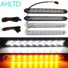 цена на 2X Auto LED DRL Daytime Running Light Switchback Car Styling Dynamic Sequential Brake White Yellow Turn Signal Warning Fog Lamp
