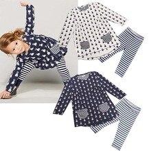 Spring and Autumn Girls Cute Rabbit Dress Irregular Hem Dress Striped Pants Suit 6-36M striped hem sweatshirt