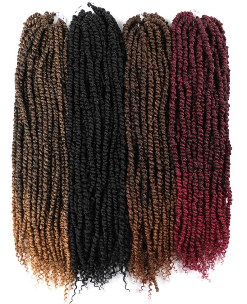 24Inch 16Strands/pack Bomb Twist Crochet Hair Braiding Hair Passion Spring Twists Synthetic Crotchet Hair Extension