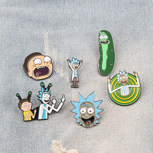 Shirt Pins Jackets Badge Button Brooch Anime Women Jewelry Enamel-Pin Morty Rick Lovers