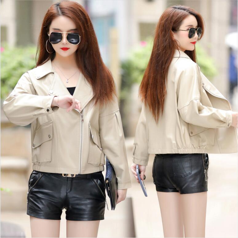 New fashion motorcycle   leather   jacket women   leather   coat 2019 autumn women's   leather   jacket short casual female jacket outerwear