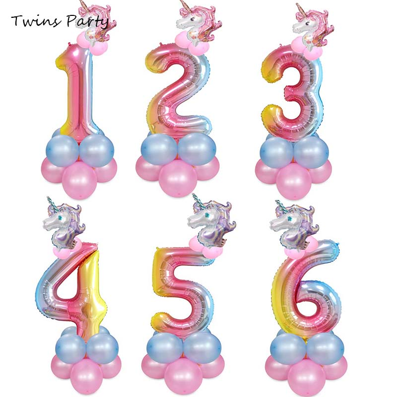Twins Party 14Pcs 32inch Rainbow Unicorn Birthday Balloons Kids Birthday Party Decoration Number Balloon Event Baby Shower Decor in Ballons Accessories from Home Garden