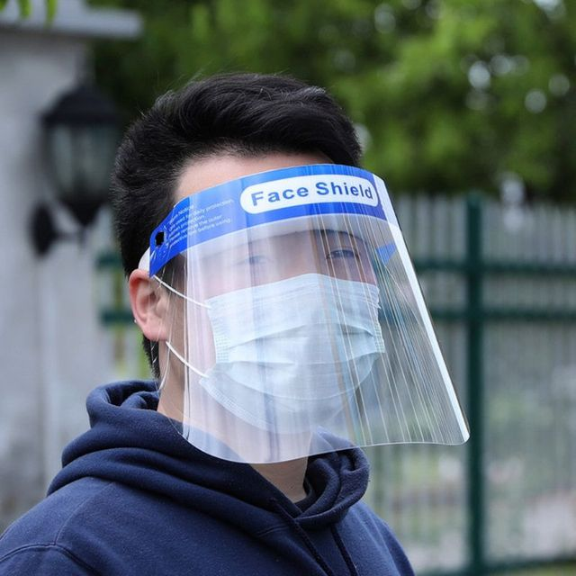 Reusable Safety Face Shield Transparent Protective Sheild Anti-Saliva Windproof Dustproof Full Face Cover Hat 2