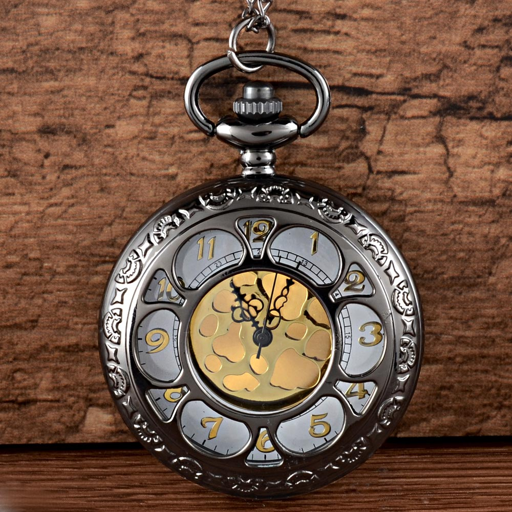 Vintage Charm Black Unisex Fashion Roman Number Hollow Quartz Steampunk Pocket Watch Women Man Necklace Pendant With Chain Gifts