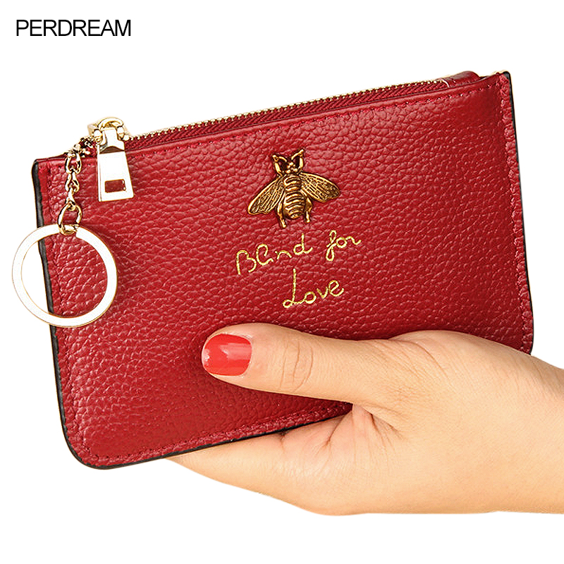 PERDREAM Cowhide European Woman Wallet Luxury Design Honeybee Decor Coin Purses Ribbon Ring Key Holder Mini ID Credit Card Bags