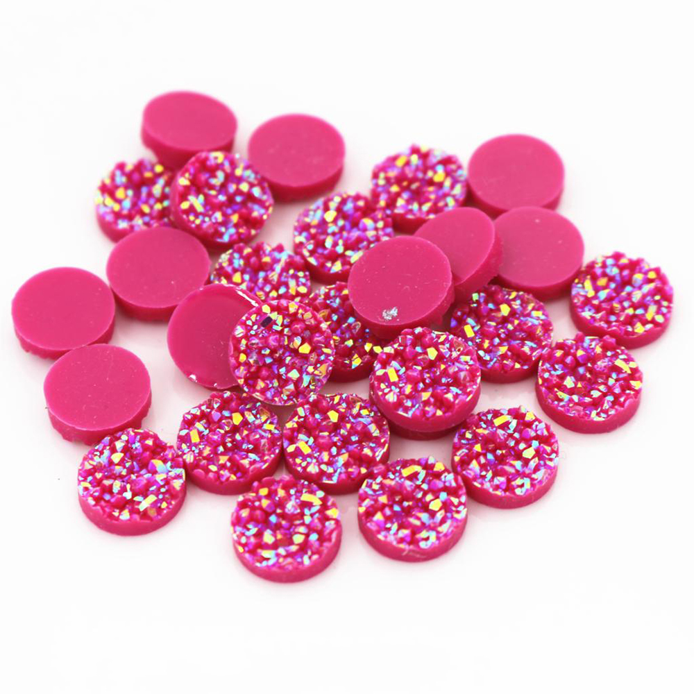 New Fashion 40pcs 12mm Rose Red AB Colors Natural Ore Style Flat Back Resin Cabochons For Bracelet Earrings Accessories-V4-21