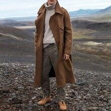 Тренч цвета хаки, Мужская классическая Осенняя зимняя длинная куртка, мужское повседневное Свободное длинное пальто, Тренч, Мужское пальто, уличная куртка