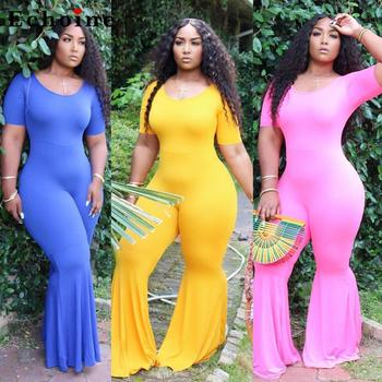 Women Casual Jumpsuits O-Neck Short Sleeve Long Flare Pants Bodycon Combinaison Femme Minimalist Chic Rompers Onesies Catsuit wuhe women fashion o neck short sleeve long swing top and slim pants summer casual two pieces sets playsuits combinaison femme