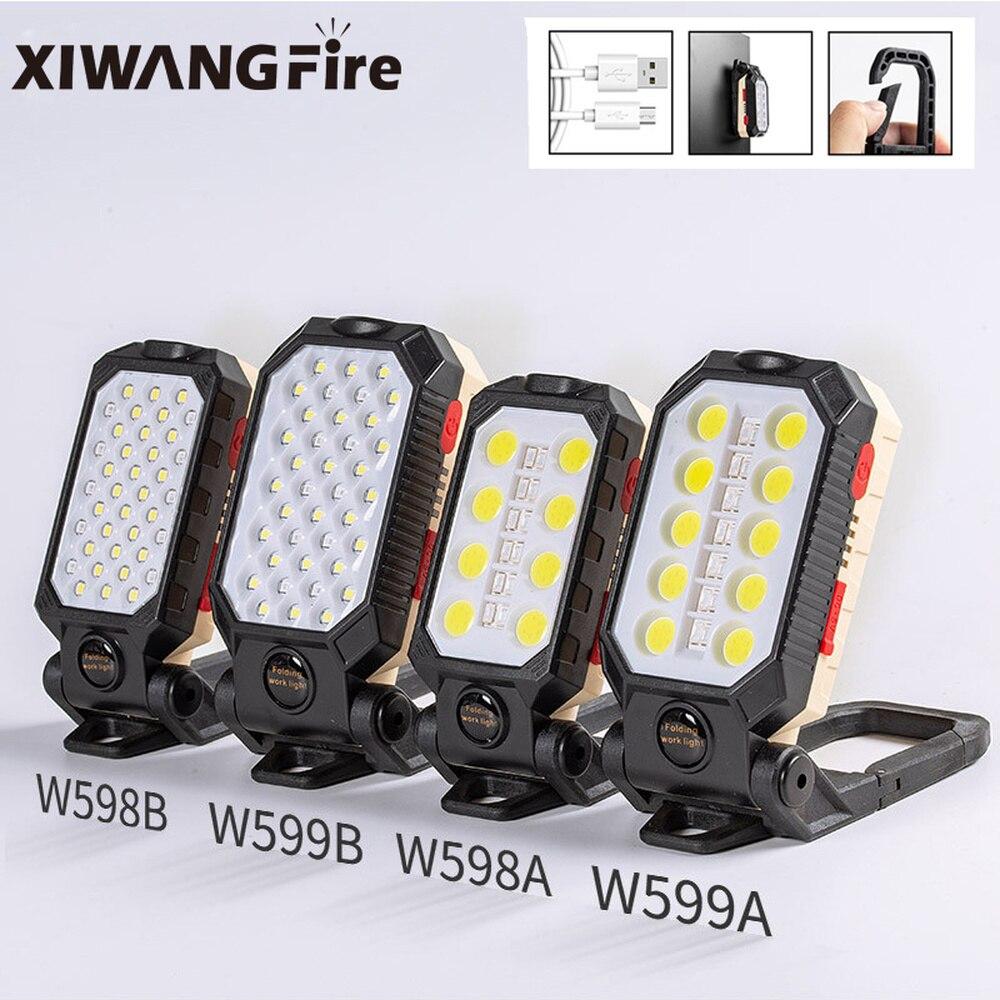 XIWANGFIRE – lampe de travail à LED COB, Rechargeable, magnétique et étanche, lampe de poche Portable et pliable, avec affichage de puissance, pour le Camping |