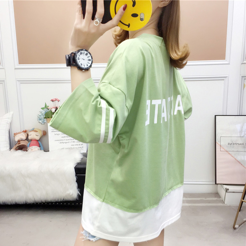 summer large size Women T-shirts cotton half Sleeve tshirt Female letter Printing Korean students Casual Patchwork t shirt tops