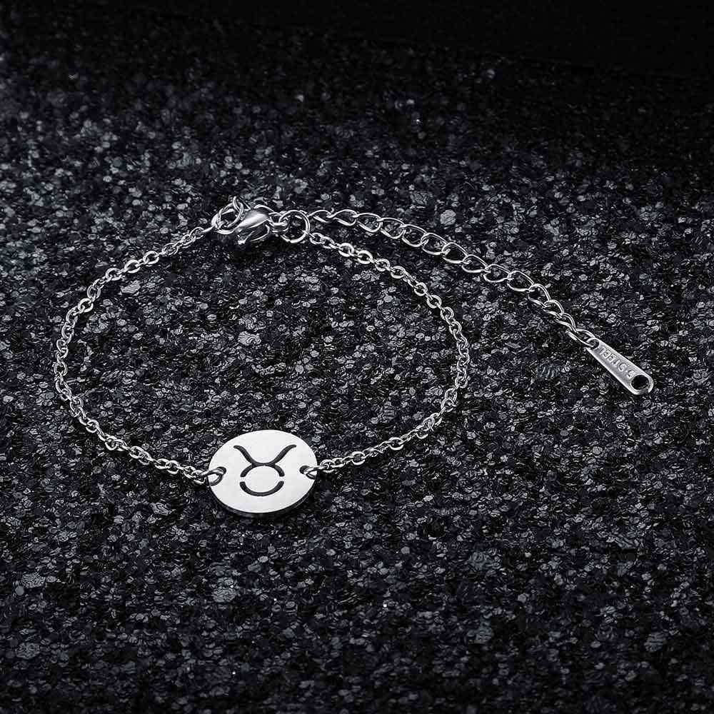 12 Созвездие зодиака браслет для женщин Женский 100% из нержавеющей стали AAAAA качественный Браслет высокого польского шарма Браслеты