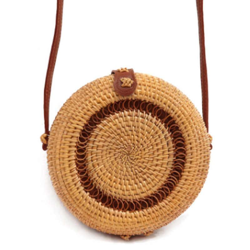 Ручная работа, соломенные сумки через плечо для женщин, 2019, круглая форма, плетеная солома из ротанга, сумки-мессенджеры для девочек, сумки на плечо, косметички