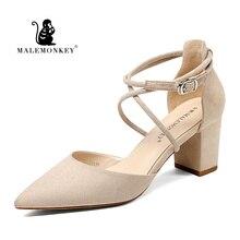 MALEMONKEY 1391 Summer Women Sandals 2020 Ankle Strap Sandals Low Mid High Heel