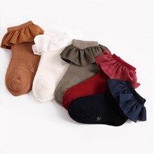5 Цвет малыш короткие носки с кружевом рант забавный счастливый вязаный младенец новорожденный малыш детские носки для девочек возраст 2-8 лет осень +