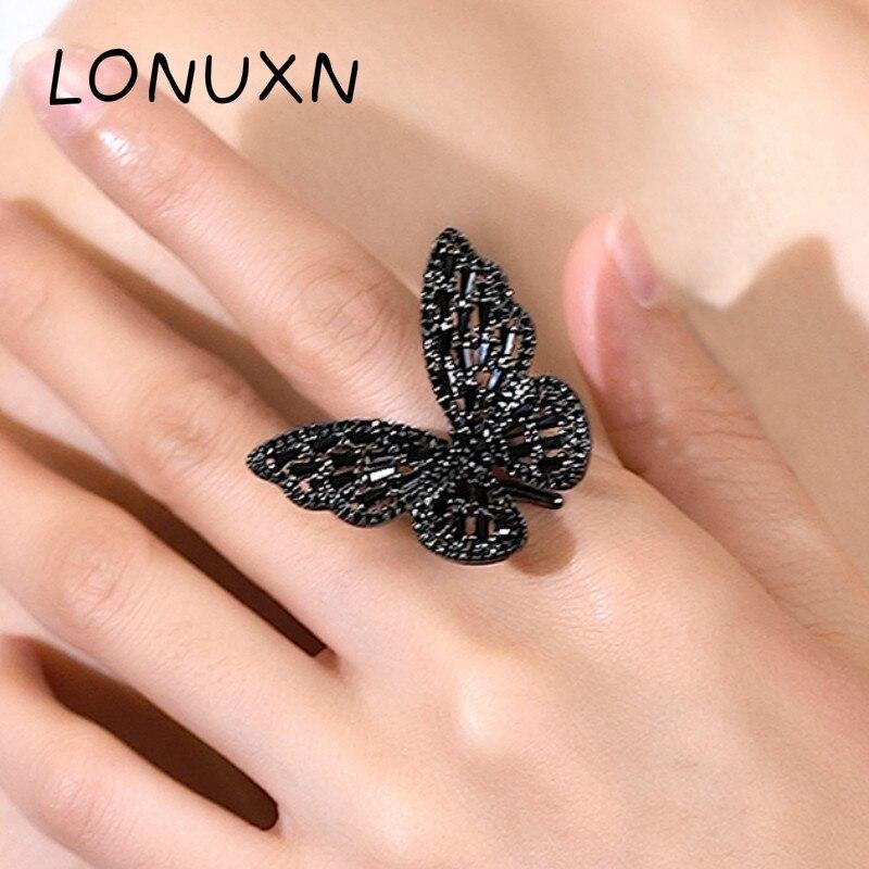 Haute qualité noeud papillon cubique zircon anneaux noir cristal brillant grand papillon anneaux pour femmes argent 925 bijoux Fine bijoux