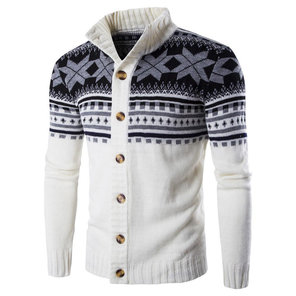 Men Long Sleeve Ethnic Floral Print Stand Collar Buttons Up Knit Sweater Jacket