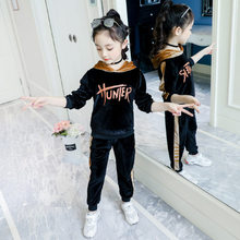 Girl Set Pleuche Hooded Pullover Top+Casual Pants Fashion Sport Suit for Girl Autumn Winter Tracksuit Kids Teenage Clothes 4-13Y