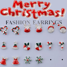 8 pares brincos de jóias acessórios conjunto bonito papai noel boneco de neve linda árvore sino presentes de natal para as meninas femininas brinco