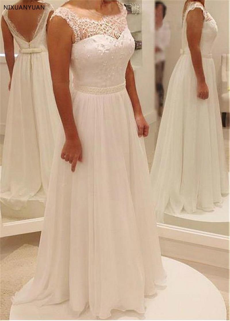 Romantic Chiffon Bateau Neckline A-line Wedding Dresses With Beadings Sleeveless Floor Length Bridal Dress