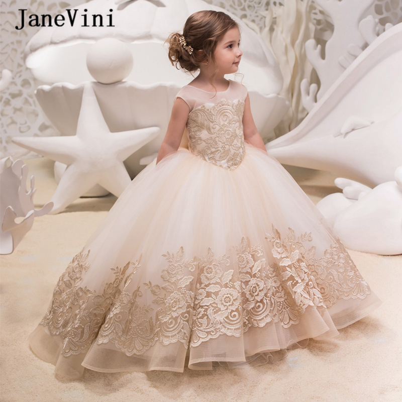 JaneVini Vintage Lace Ball Gown   Flower     Girl     Dresses   Cap Sleeves Appliques Big Bow Back Puffy Tulle Gilrs First Communion   Dress