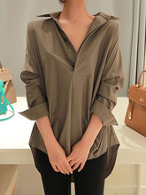 Solid Women Blouse Army Green Spring Korean Office Ladies Elegant Long Sleeve Loose Shirts New Fashion Causal Plain Female Tops(China)