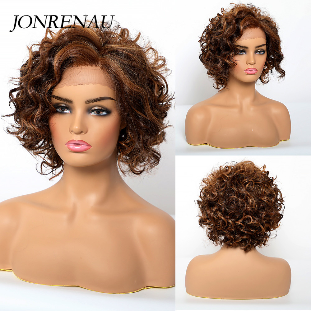 JONREANU Synthetic Lace Front Wig Short Curly Ombre Brown Heat Resistant Fiber Afro Wig For African American Women