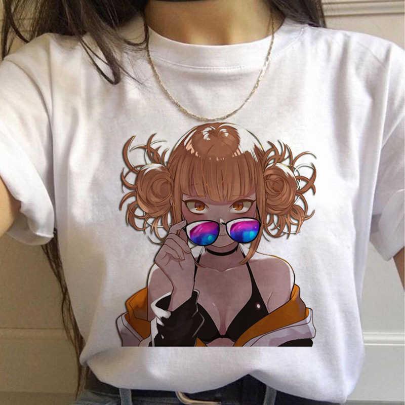 Baru Ahegao Harajuku Pekerjaan Graphic T Shirt Women My Hero Academia Anime Senpai T-shirt Hentai Himiko Toga Kaos Grafis Tee Top wanita