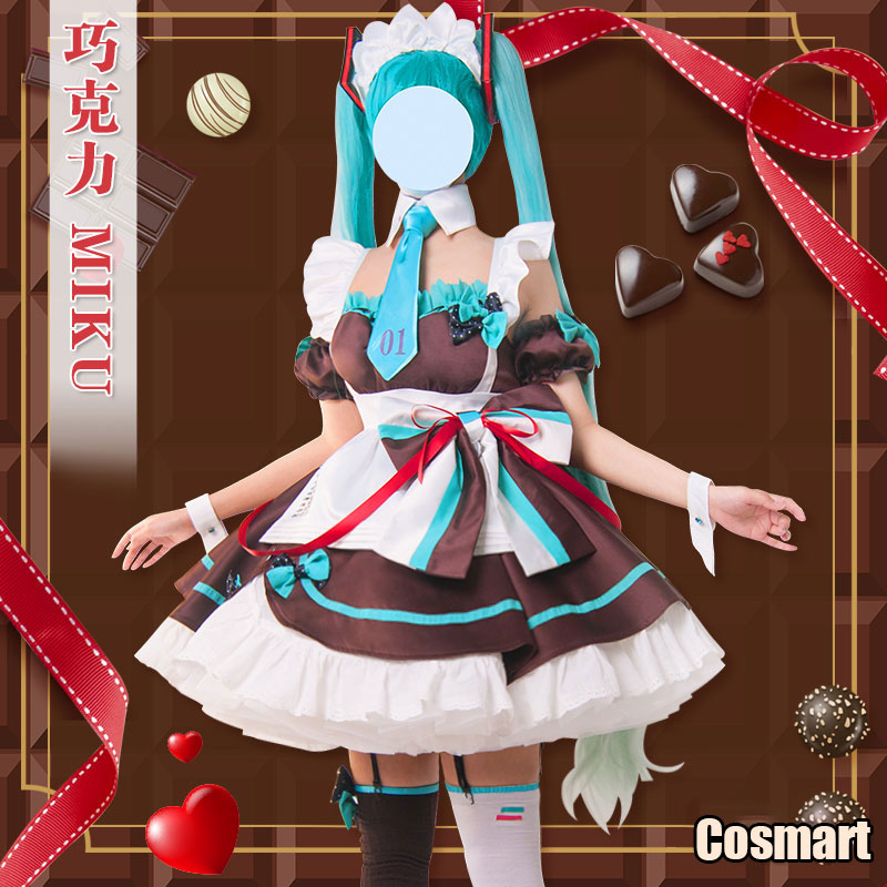 Vocaloid V Hatsune Miku Chocolate Maid Dress Uniform Cosplay Costume Valentine's Day Dress Halloween Costume For Women 2020 New