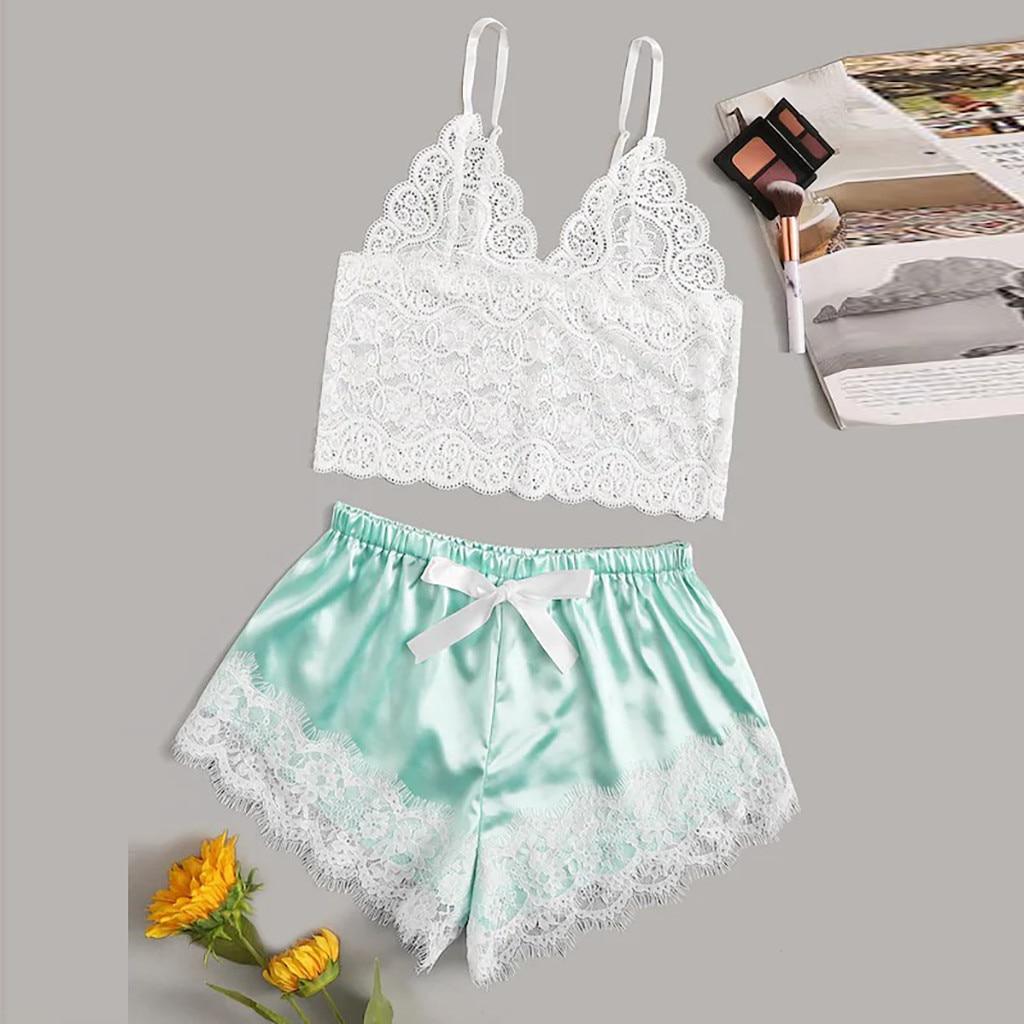 Sexy Bras Ladies Sexy Lace Homewear Comfortable Polyester Sleepwear Women Pajamas Sets Underwear Tops Briefs Sets Lenceria 2019
