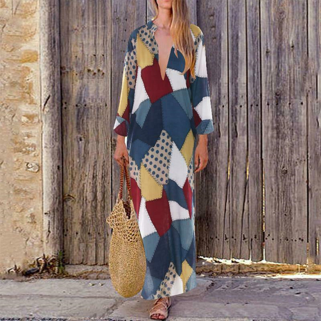 Women Vintage Baggy Boho Summer Maxi Dress Geometric Print Long Sleeve V-Neck Long Dress Casual Party Dresses Beach Dresses