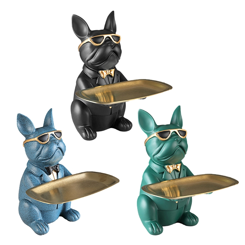 Bulldog Statue Holding Storage Tray Cute Animal Sculptures Resin Keys Candy Dish Jewelry Earrings Holder Home Decor