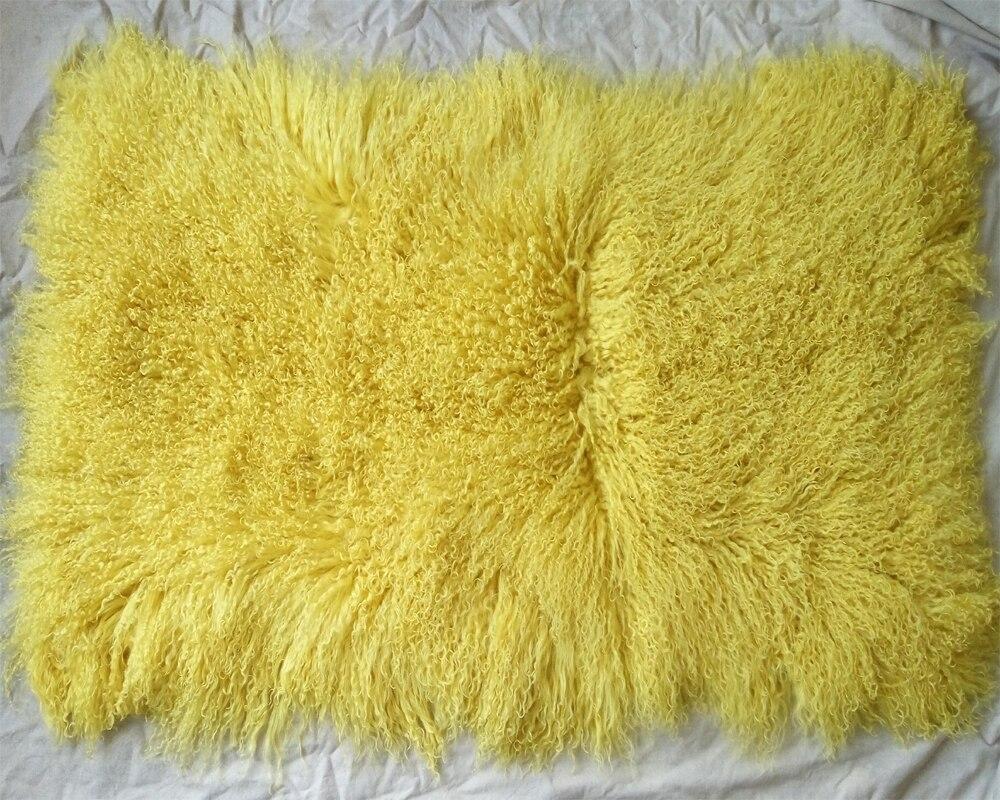 BLONDE YELLOW 40x40CM GENUINE MONGOLIAN SHEEPSKIN LAMB FUR CUSHION DUCK FEATHER