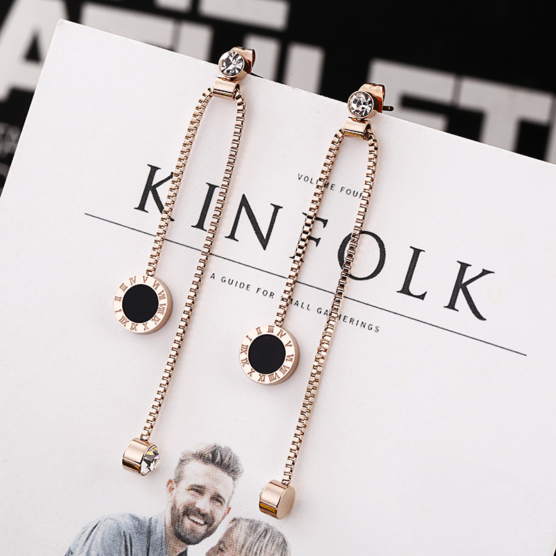 New Fashion Roman Numerals Tassel Acrylic Crystal Drop Earrings For Women Stainless Steel Earring Luxury Brand Jewelry Brincos