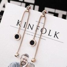 Yuedane New Fashion Luxury Roman Letters Tassel Drop Earrings For Women Titanium Post Labradorite Brand Jewelry Brincos