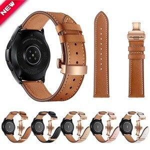 Кожаный ремешок с пряжкой-бабочкой для Samsung Galaxy Watch Active 2 Band для S3/S2 Galaxy Watch 46 мм 42 мм универсальный ремень 20 мм 22 мм