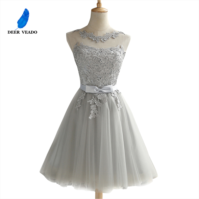 DEERVEADO CH604 Short Prom Dresses 2019 Sexy Backless Lace Up Prom Gown Formal Dress Women Occasion