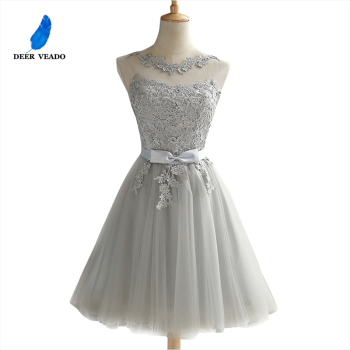 DEERVEADO CH604 Short Prom Dresses 2020 Sexy Backless Lace Up Gown Formal Dress Women Occasion Party Robe De Soiree - discount item  37% OFF Special Occasion Dresses
