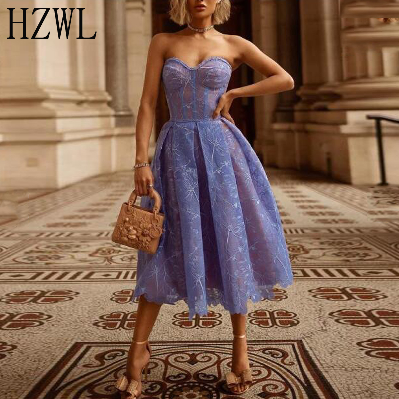 Elegant Lavenda Lace Cocktail Dresses Sweetheart Tea-Length коктейльное платье Formal Party Gown Robe Cocktail
