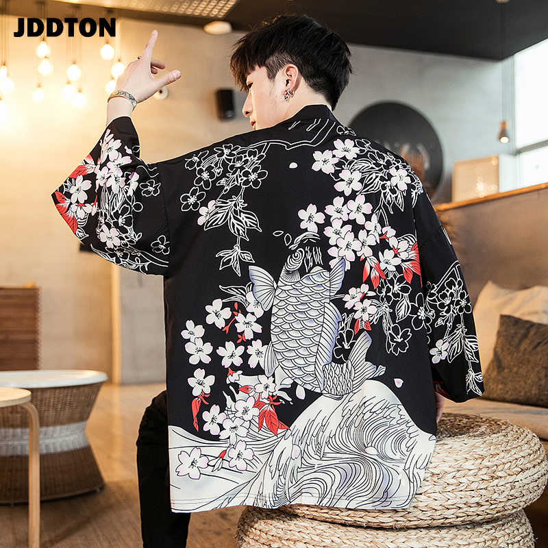 JDDTON Men's Summer Fashion Harajuku Kimono Cardigan Jackets Yukata Thin Outerwear Haori Coats Loose Casual Male Overcoat JE029