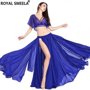 Image 3 - Gorąca sprzedaż kobiet seksowny zestaw do tańca brzucha taniec brzucha ubrania moda dziewczyny szyfonowa bellydance Top spódnice praktyka nosić